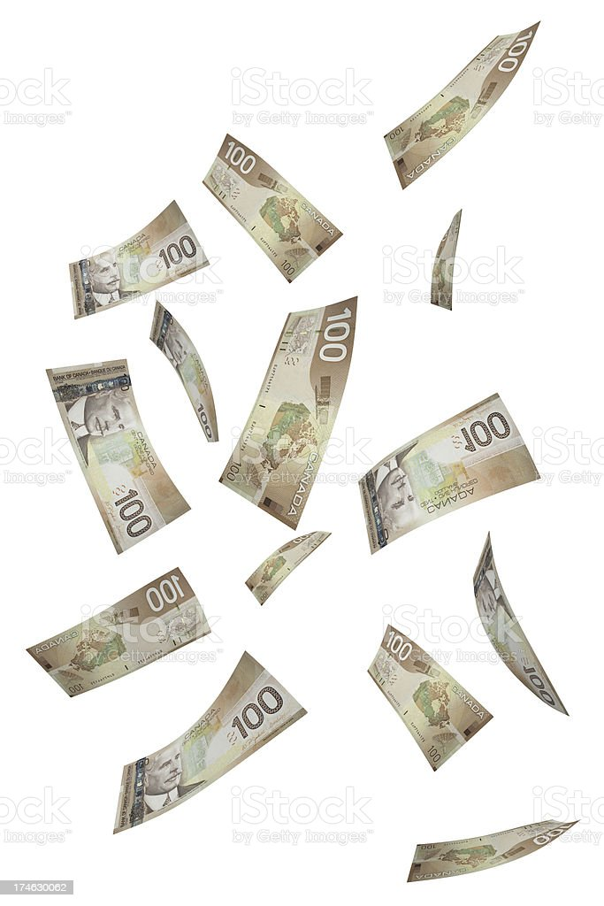 Falling Hundred Dollar Bills stock photo