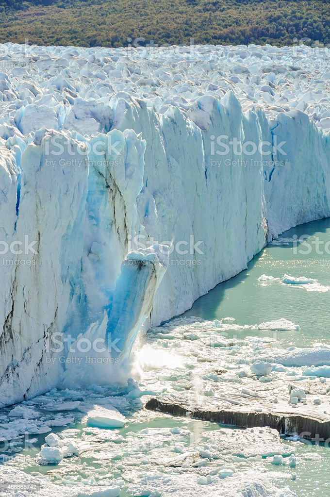 Falling ice, Perito Moreno Glacier, Argentina stock photo