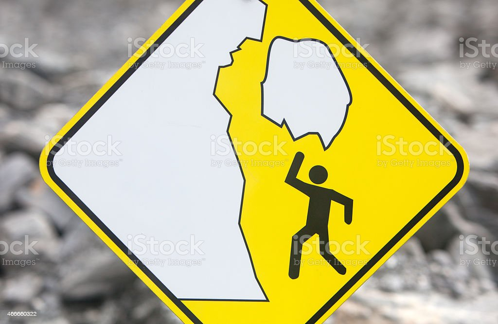 Falling Ice Warning Sign stock photo
