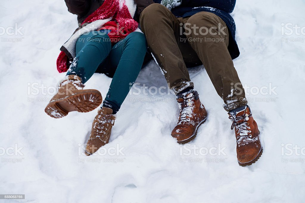 Falling in snow stock photo