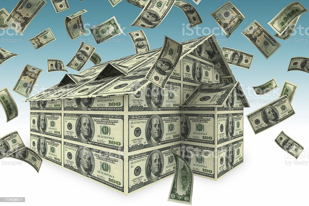 Falling Money and House(XXL) royalty-free stock photo