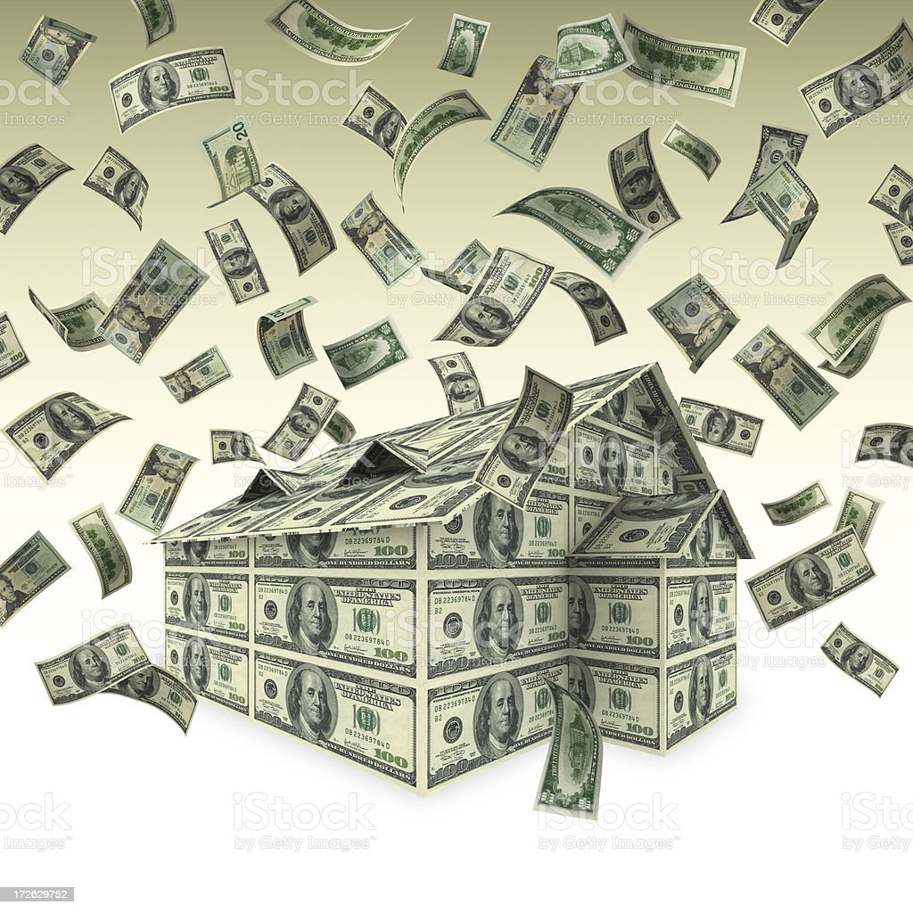 Falling Money and House (High Res./XXL) royalty-free stock photo