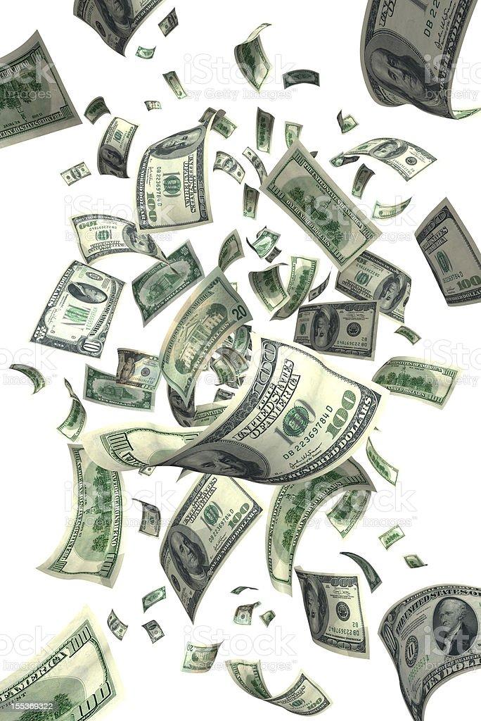 Falling Money Bills (XXXL) stock photo