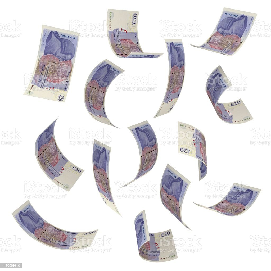 Falling money - British pounds stock photo