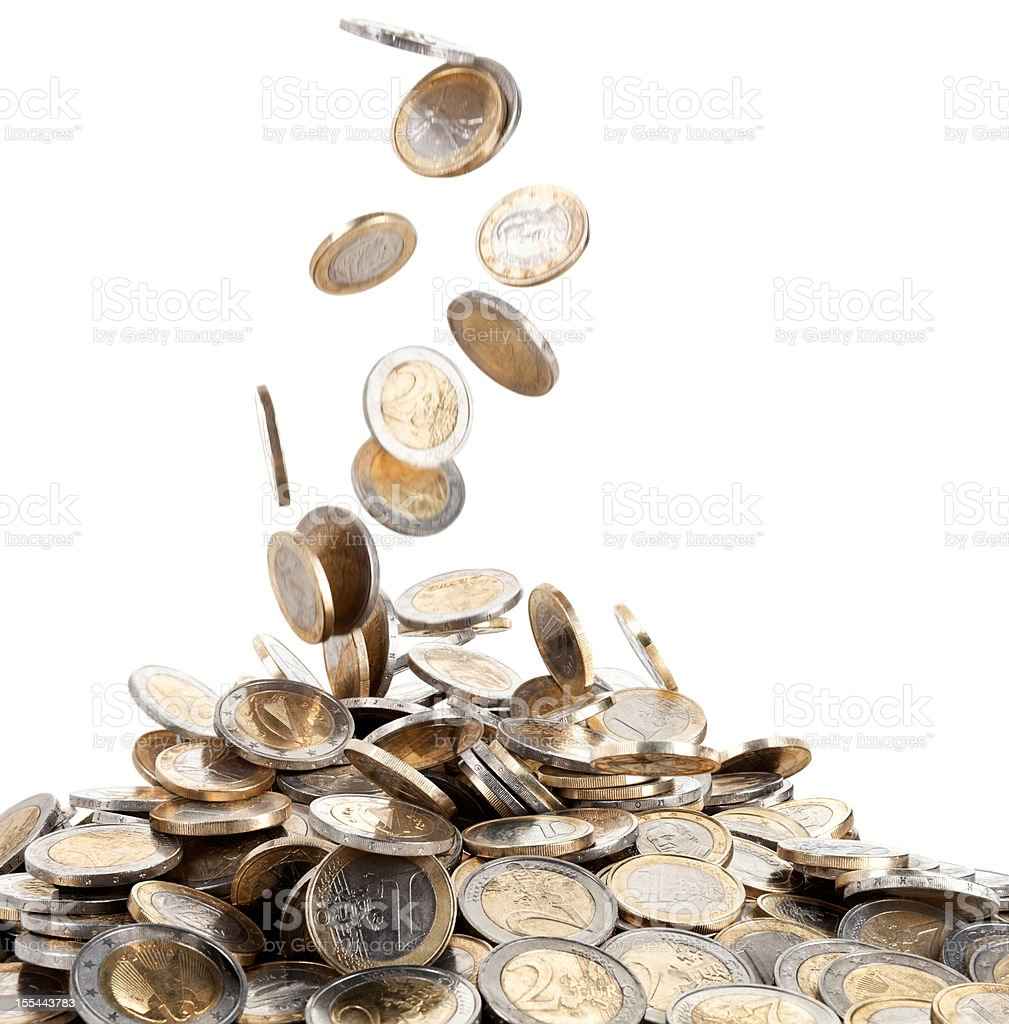 Falling Motion of Euro Coins Onto a Mound of Money stock photo