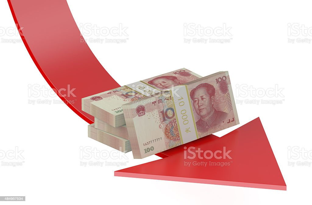 falling of the Chinese yuan stock photo