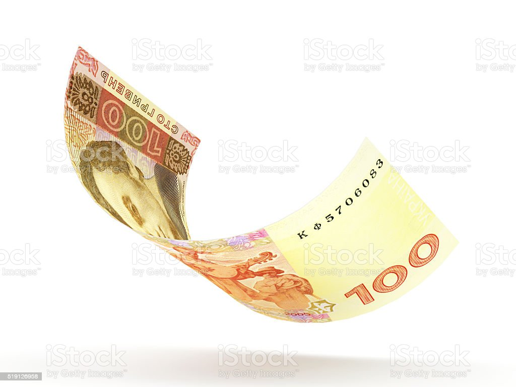 Falling one hundred hryvnia bank note stock photo