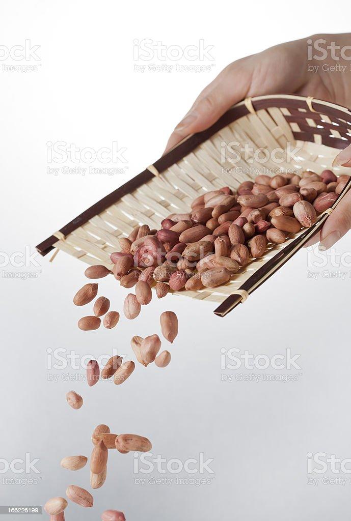 Falling peanuts royalty-free stock photo