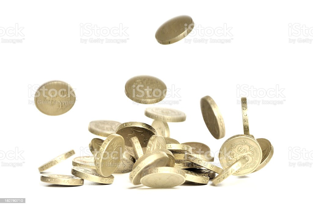 Falling pound coins stock photo