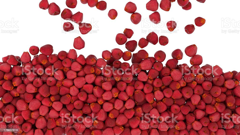 Falling red apples isolated royalty-free stock photo