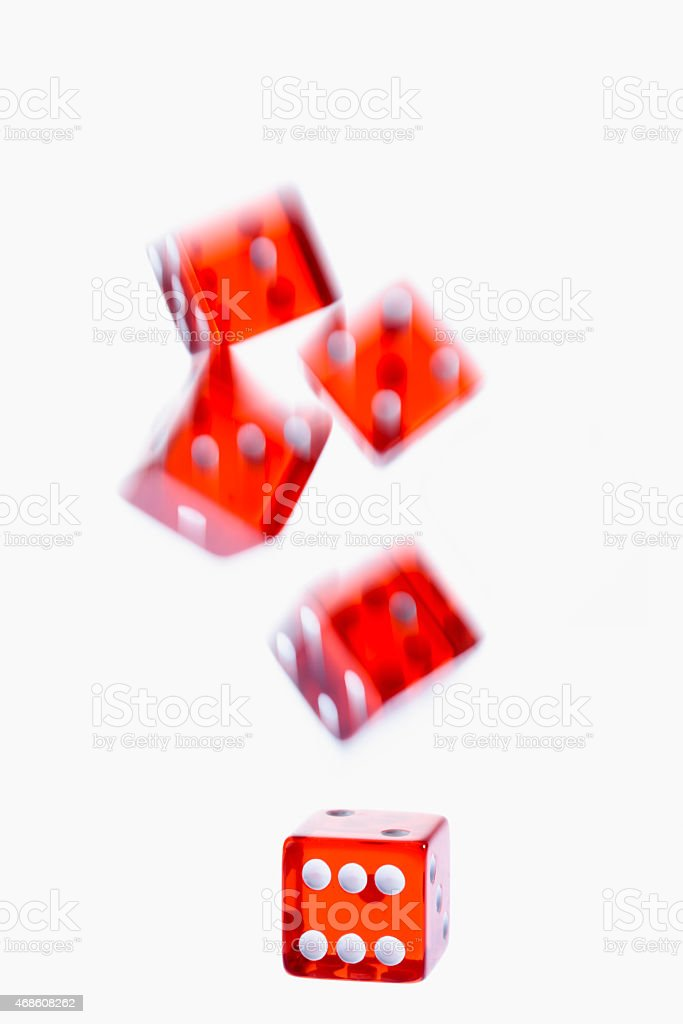 Falling red cubes stock photo
