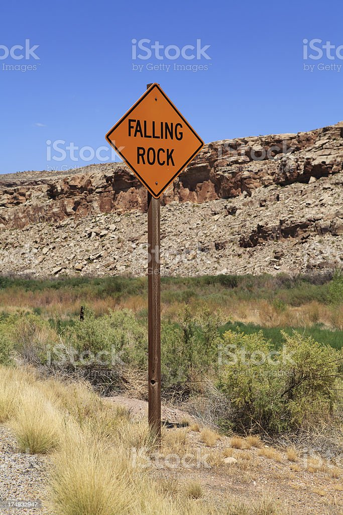 Falling rock sign royalty-free stock photo