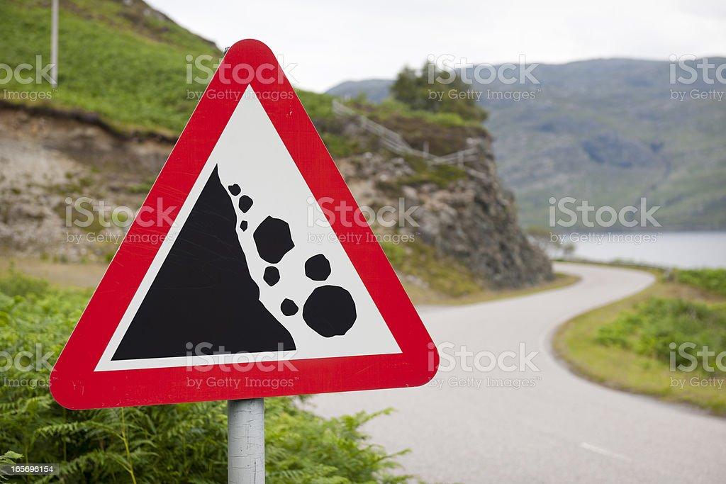 Falling Rocks Warning Road Sign stock photo