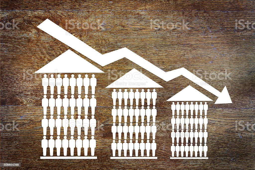 Falling sales of houses stock photo