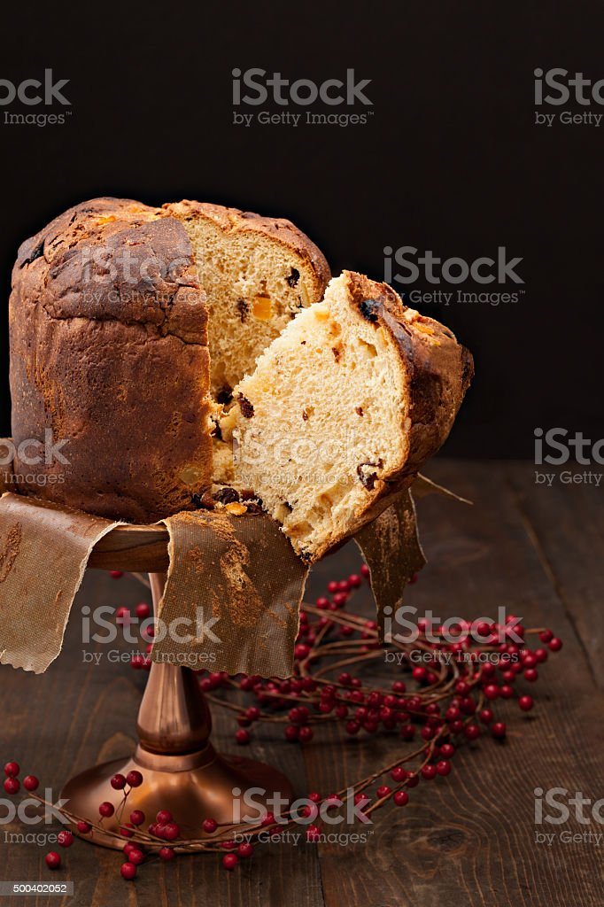 Falling Slice Of Panettone stock photo