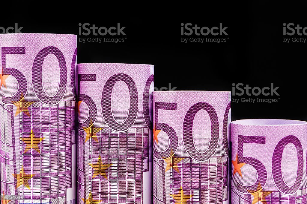 falling steps made of 500 euro banknotes stock photo