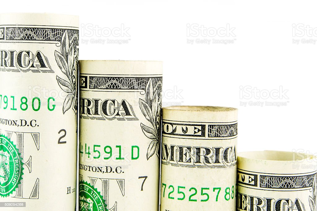 falling steps made of one american dollar banknotes stock photo