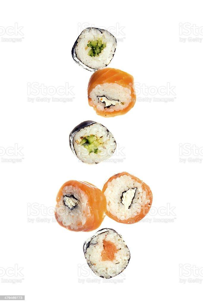 Falling sushi royalty-free stock photo