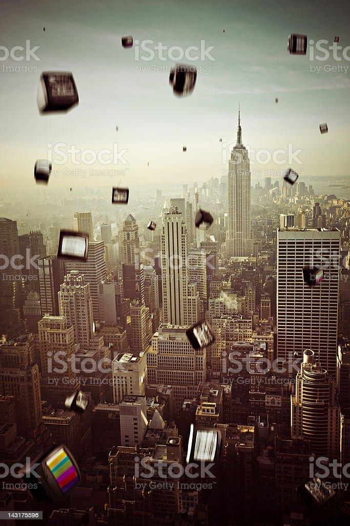 Falling televisions over New York royalty-free stock photo