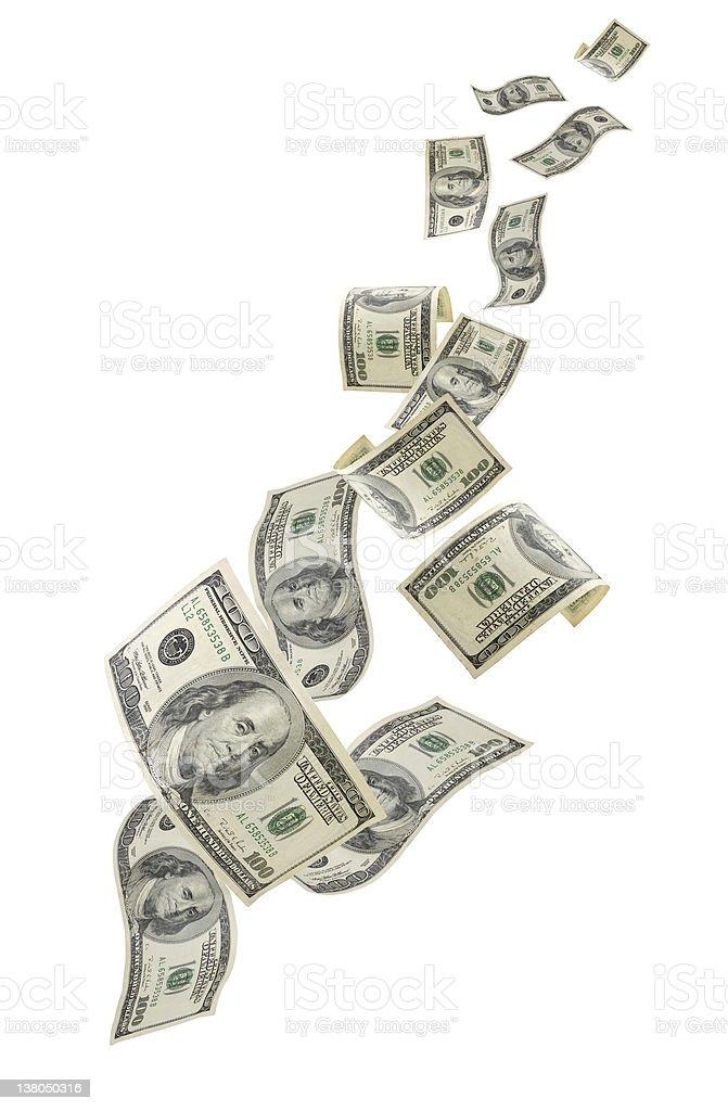 Falling US Money stock photo