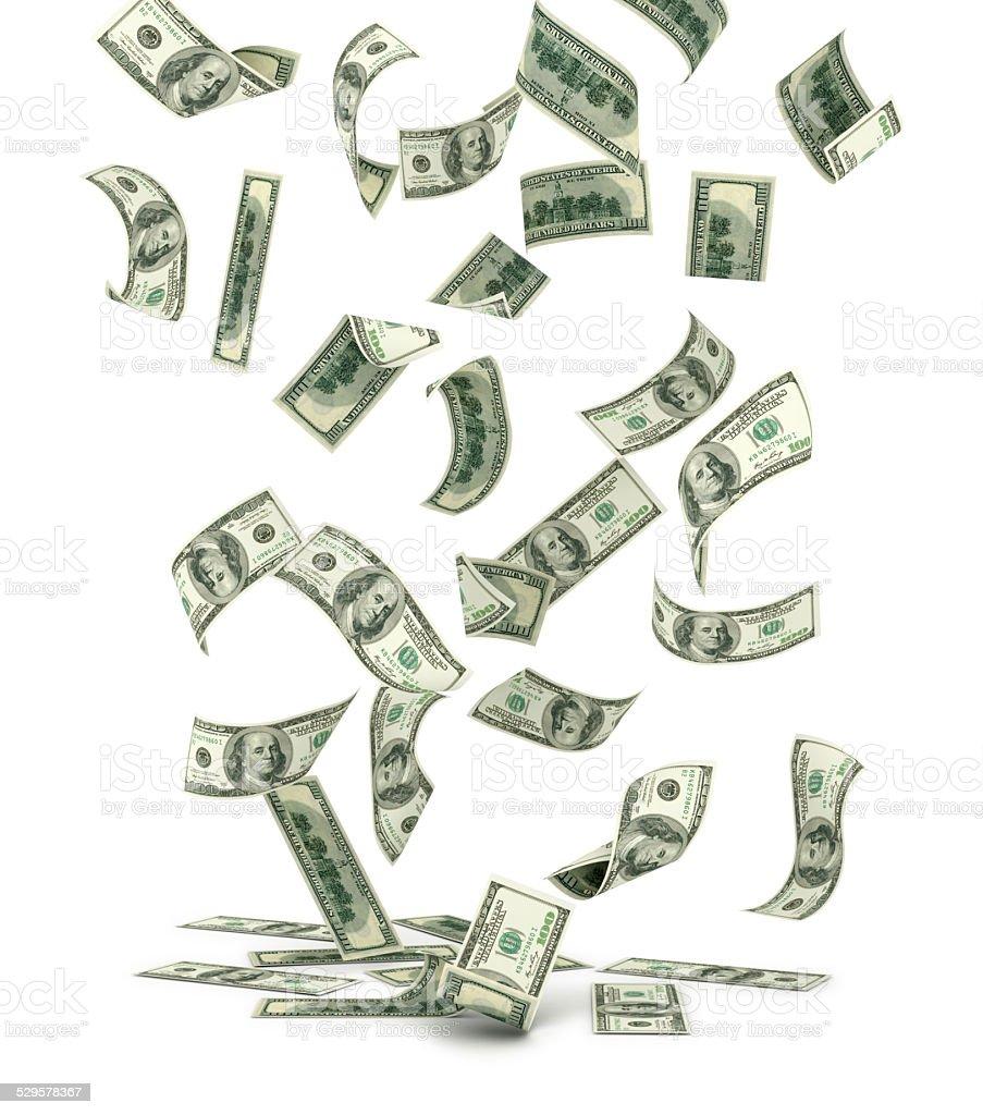 Falling US one hundred dollar bills, isolated on white. stock photo
