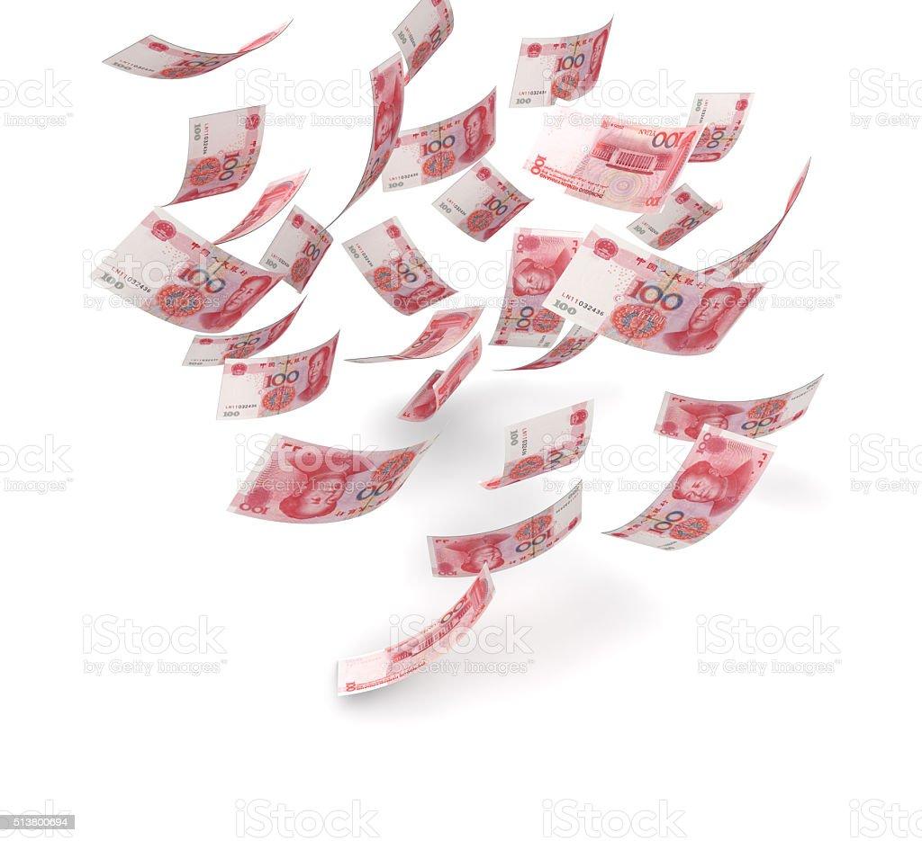 Falling Yuans stock photo