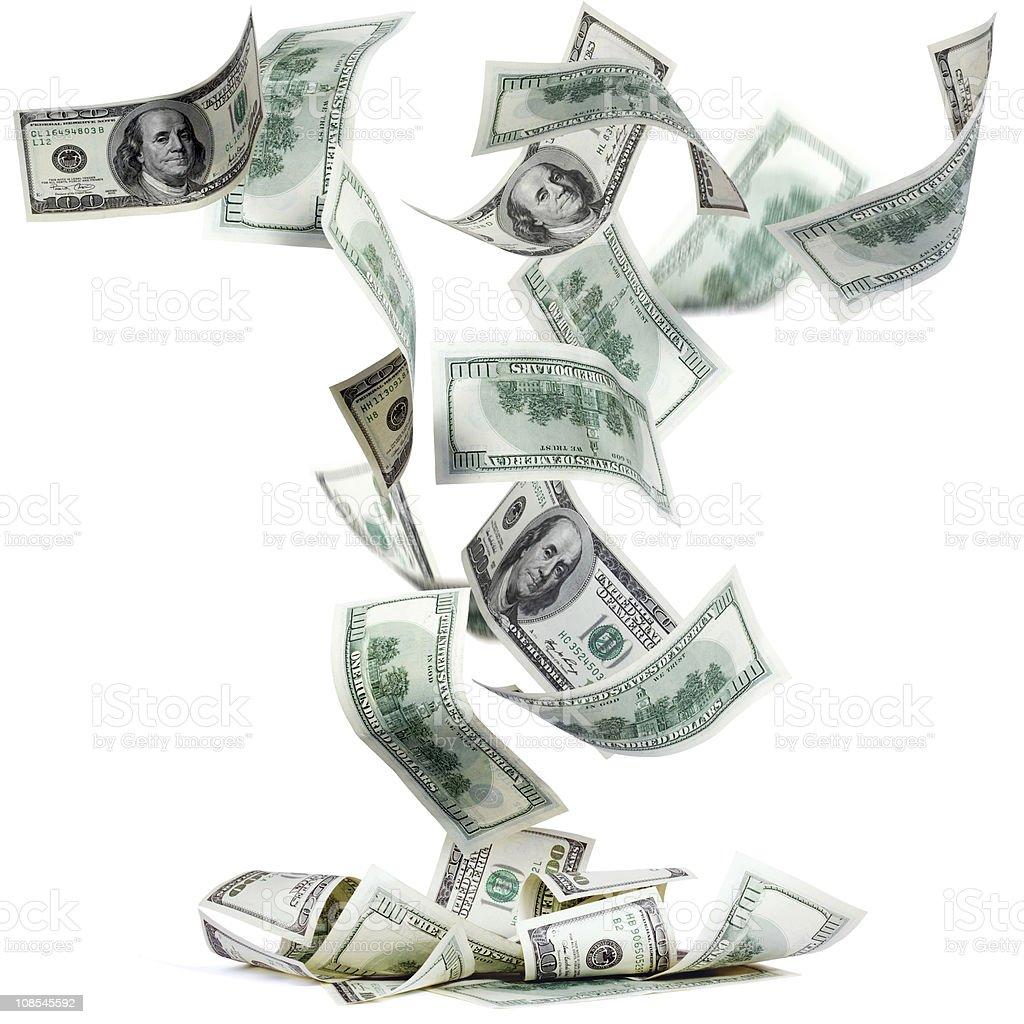 Fallng dollars stock photo