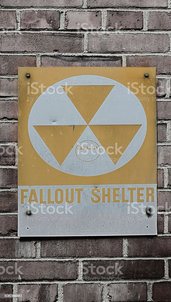 Fallout Shelter sign on a brick wall, in New York stock photo
