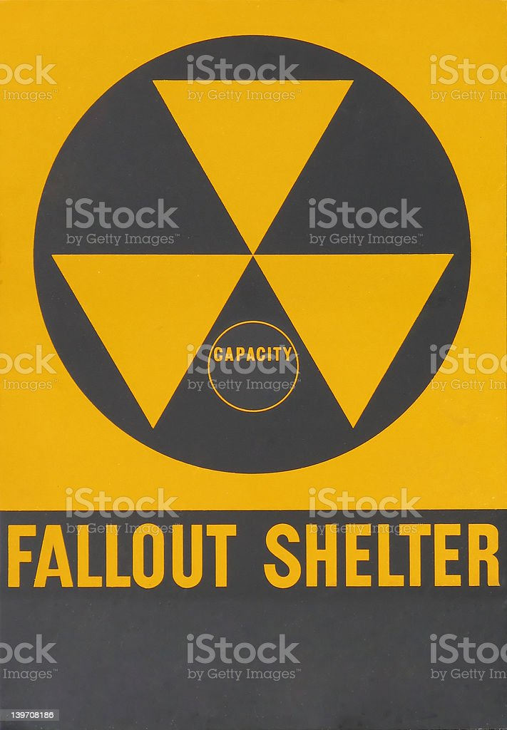 Fallout Shelter Warning Sign royalty-free stock photo