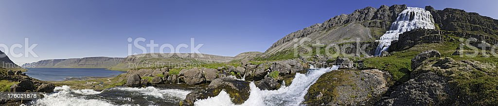 Falls and fjords white water torrents panorama Iceland royalty-free stock photo