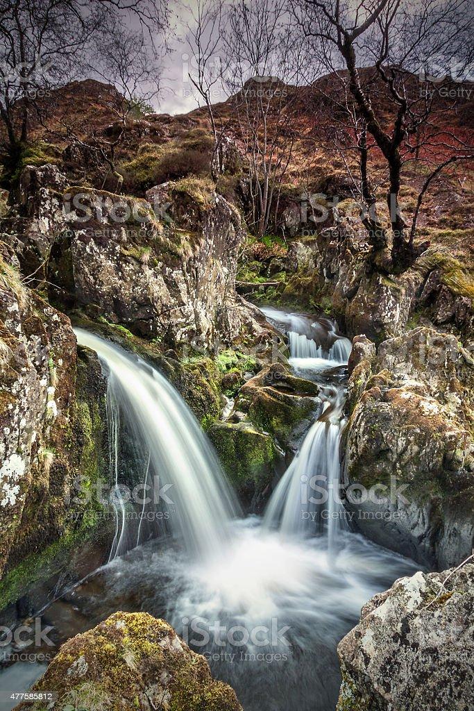 Falls at Watendlath Tarn stock photo