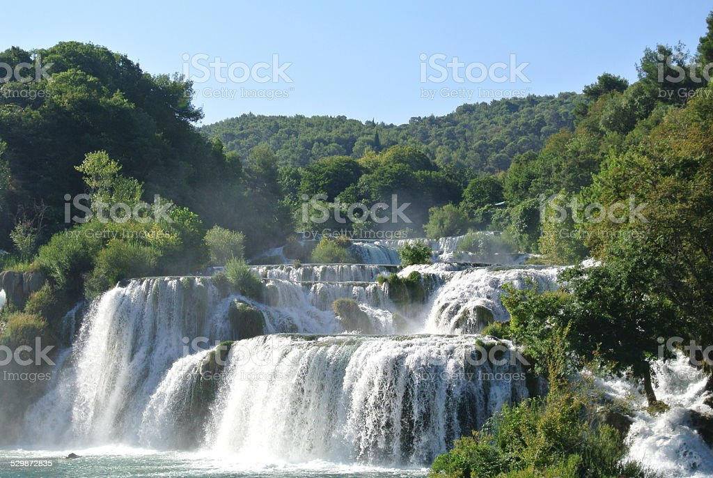 Falls in Krka National Park stock photo
