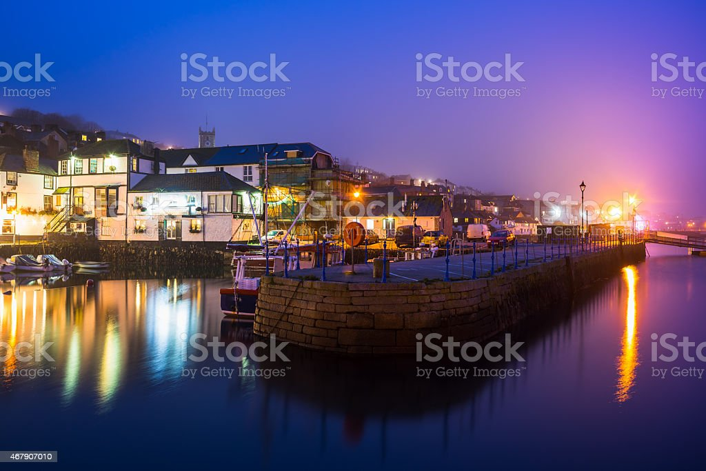 Falmouth Harbour Night stock photo