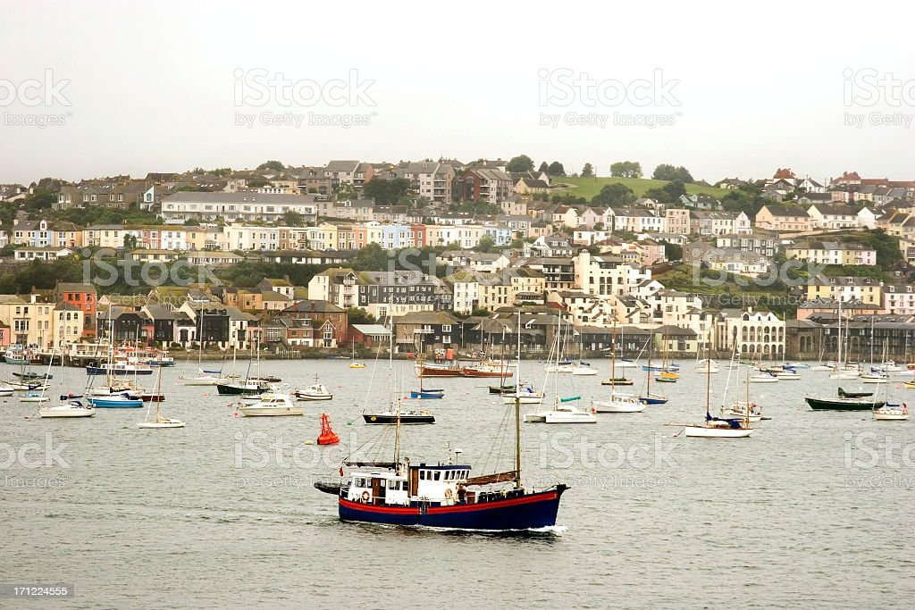 Falmouth harbour with fishing boat stock photo