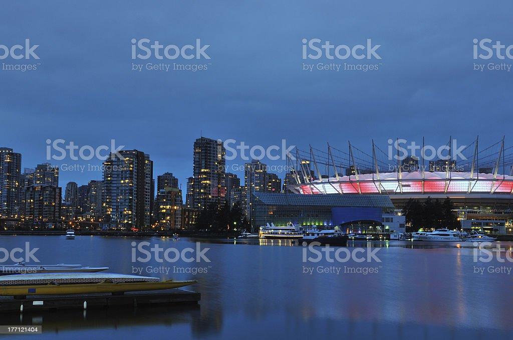 False Creek and BC Stadium at night royalty-free stock photo