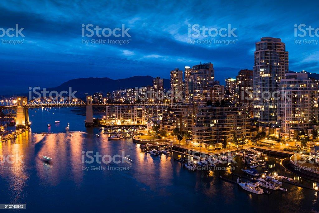 False Creek, Vancouver at dusk. stock photo