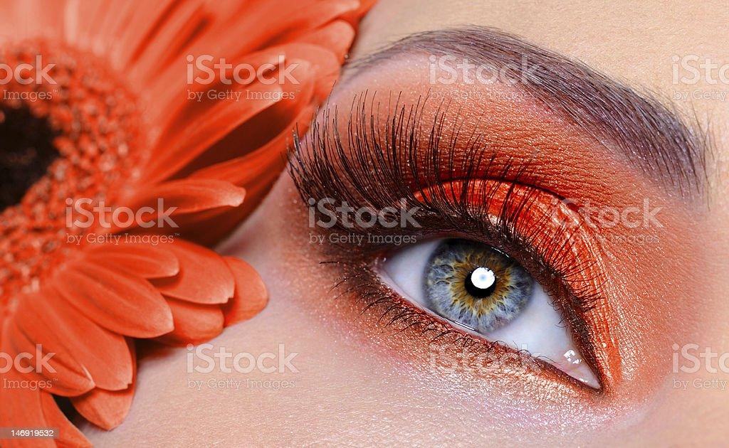 false eyelashes and fashion orange eye make-up royalty-free stock photo
