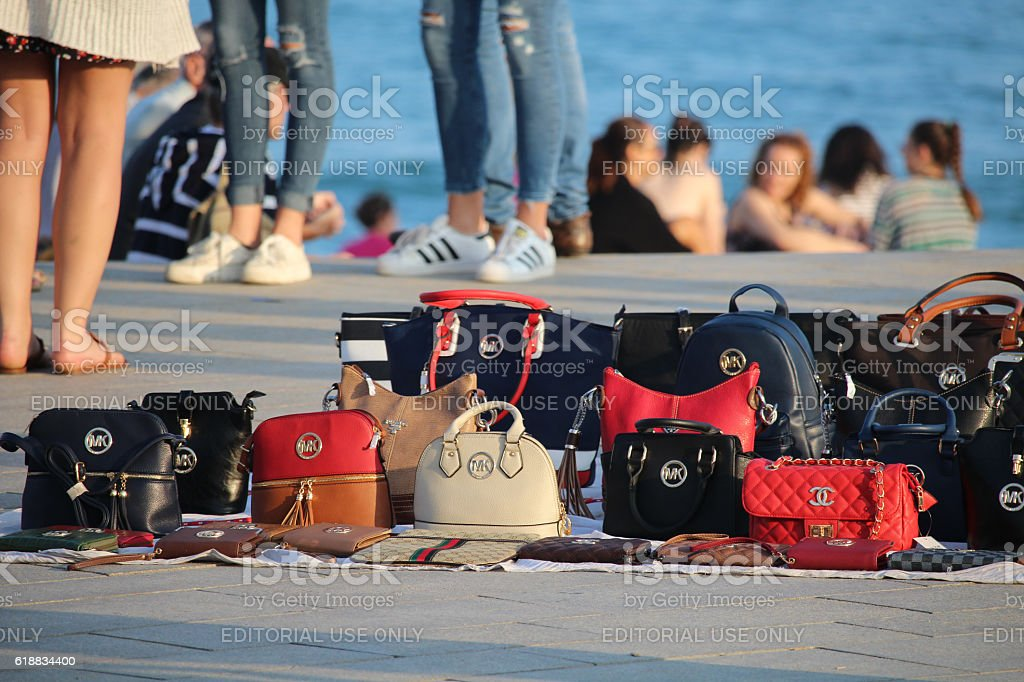 False items sold on the beach stock photo