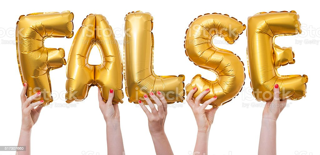 False word made from gold balloons stock photo
