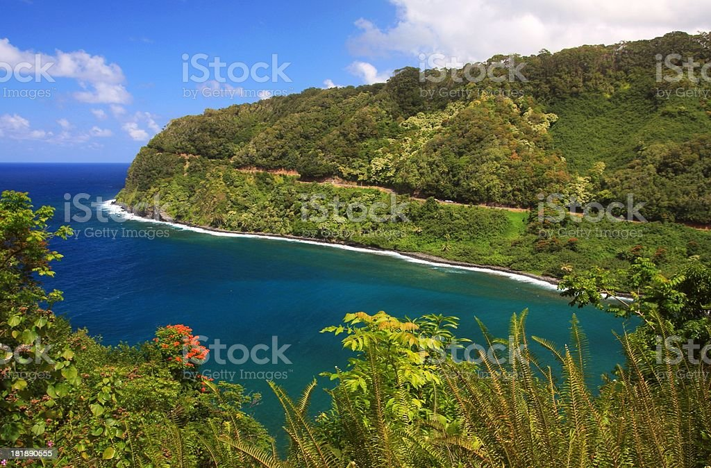 Famed road to Hana Maui Hawaii royalty-free stock photo
