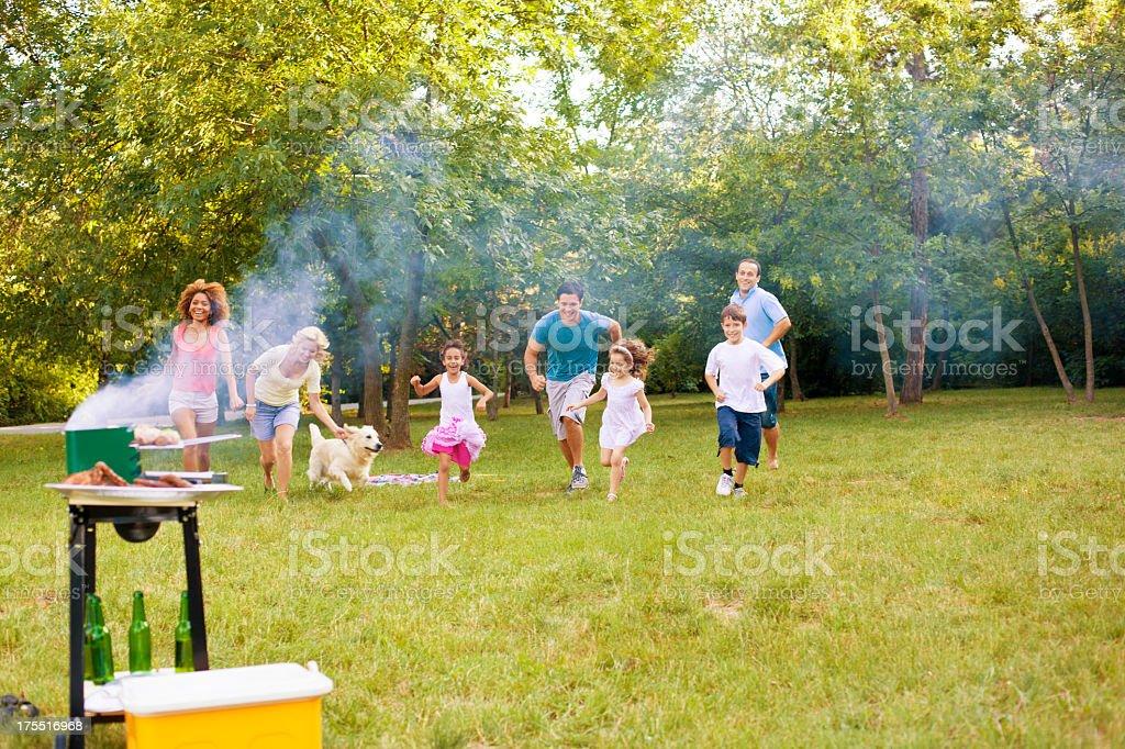 Families enjoying a barbecue stock photo