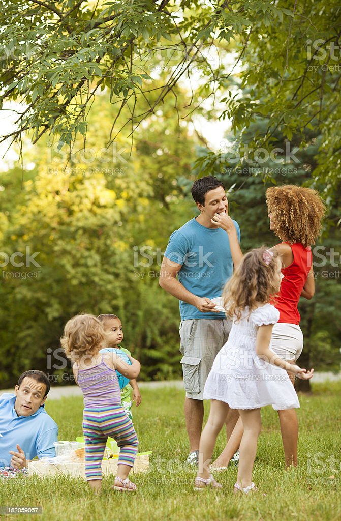 Families enjoying barbecue outdoors royalty-free stock photo