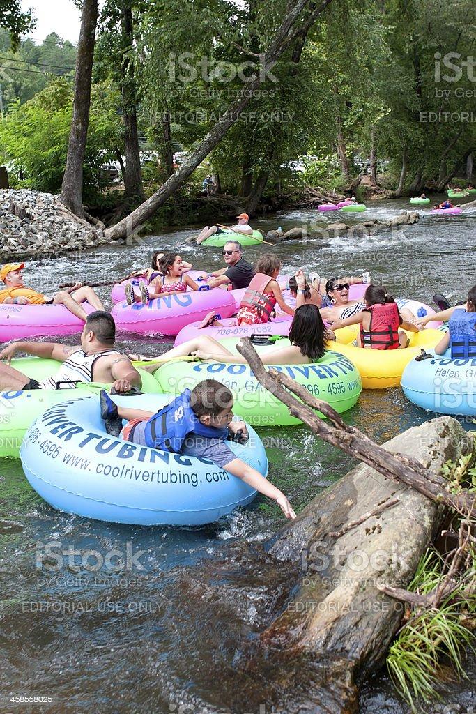 Families Go Tubing Down North Georgia River royalty-free stock photo