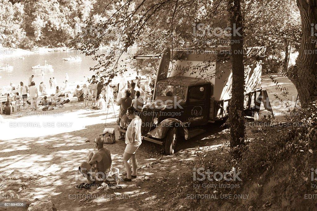 Families holidaying near Pont D'Arc stock photo