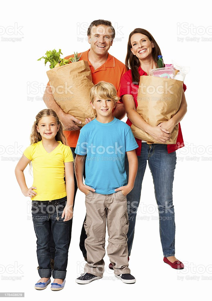 Family After Grocery Shopping - Isolated royalty-free stock photo