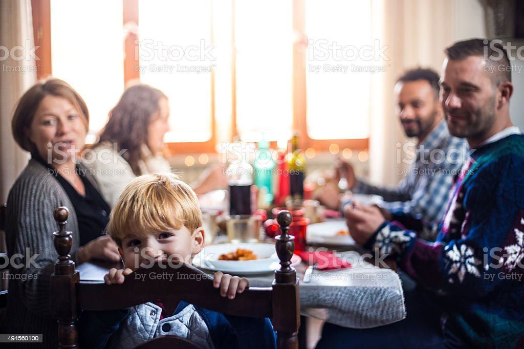 Family All Together At Christmas Dinner 2 stock photo