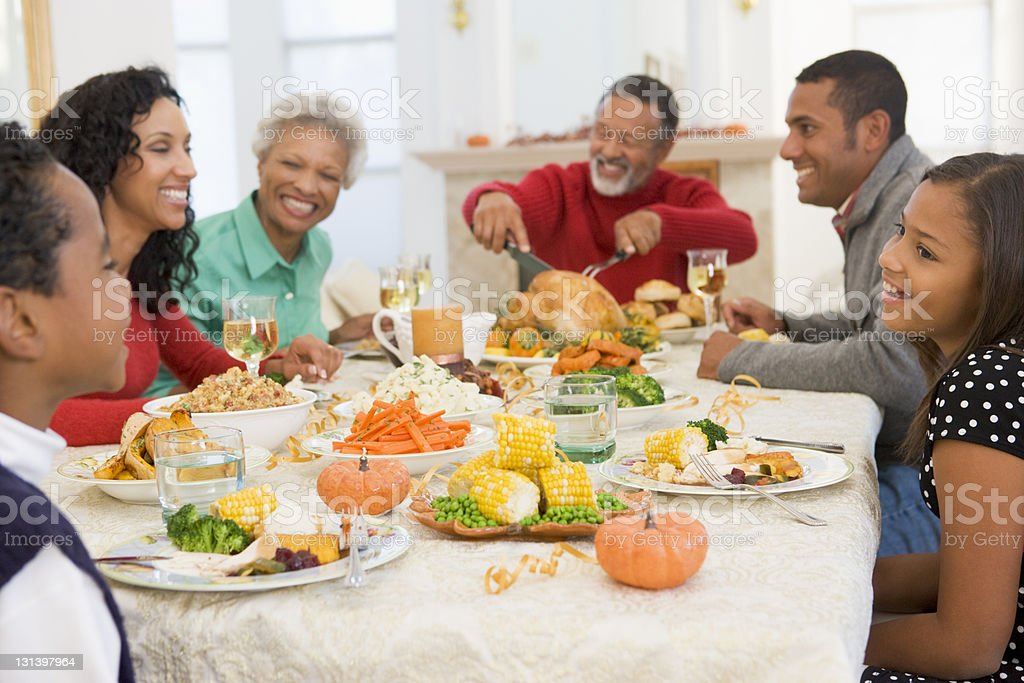 Family All Together At Christmas Dinner royalty-free stock photo