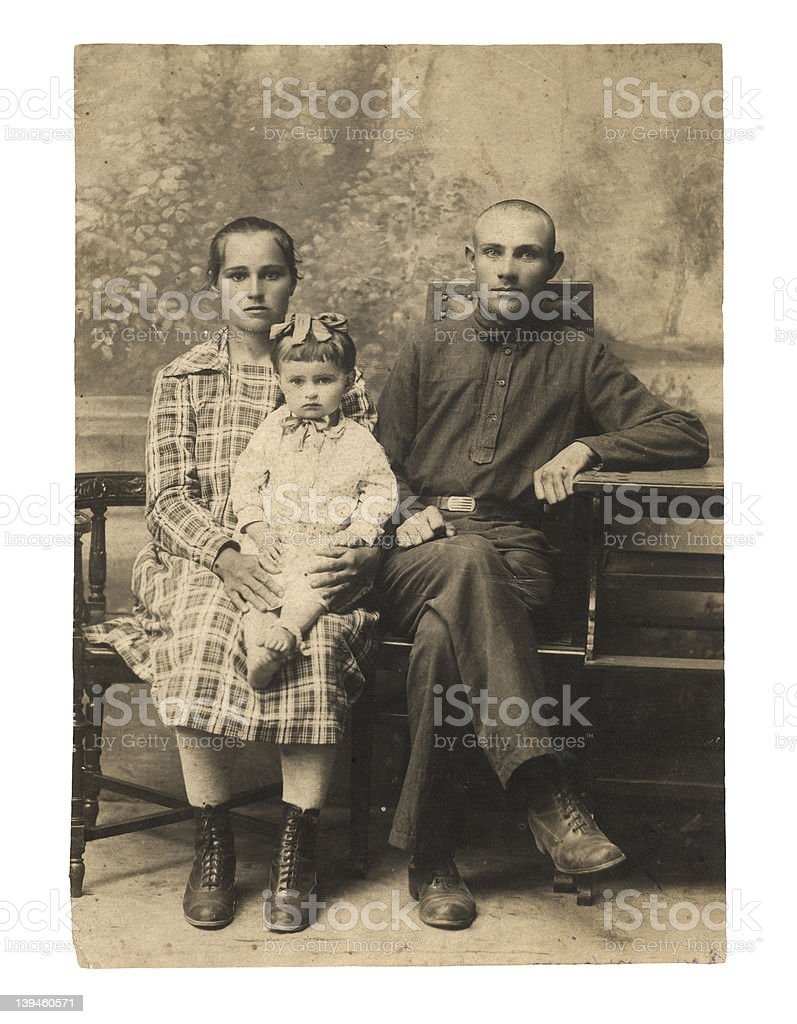 Family. An ancient photo of 1924. stock photo