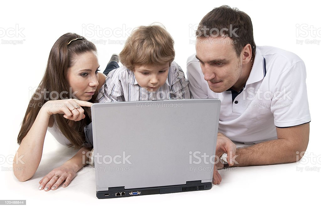 family and computer royalty-free stock photo