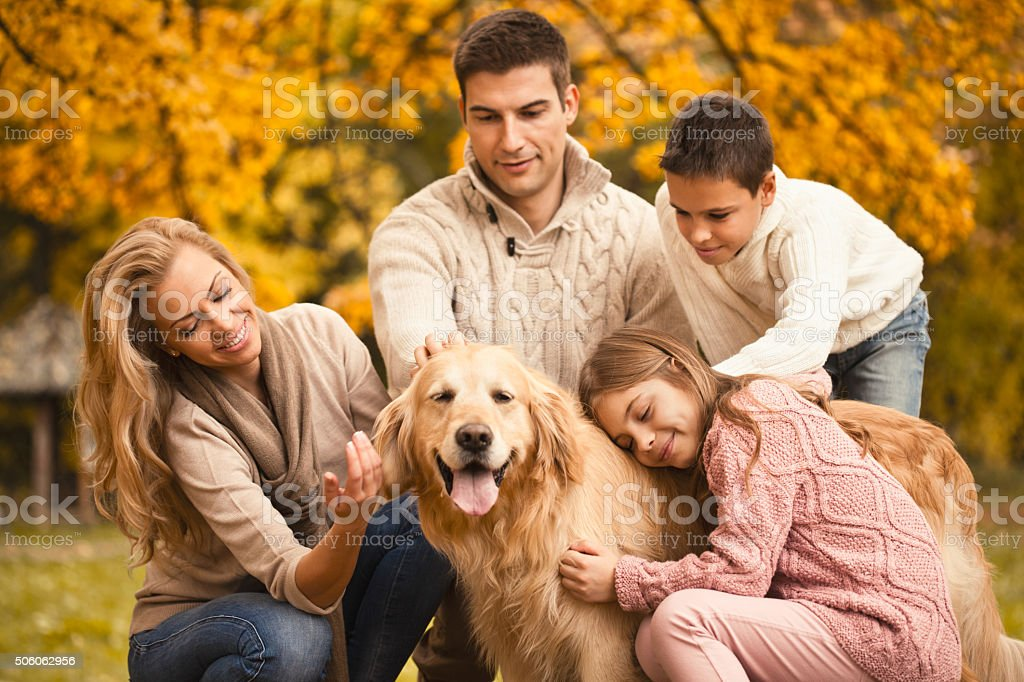 Family and dog enjoying autumn day in the park stock photo